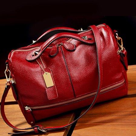 Cowhide Leather Elegant Women Multi Pockets Crossbody Bag For Women