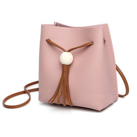 Sweet PU Leather Drawstring Crossbody Bag For Women