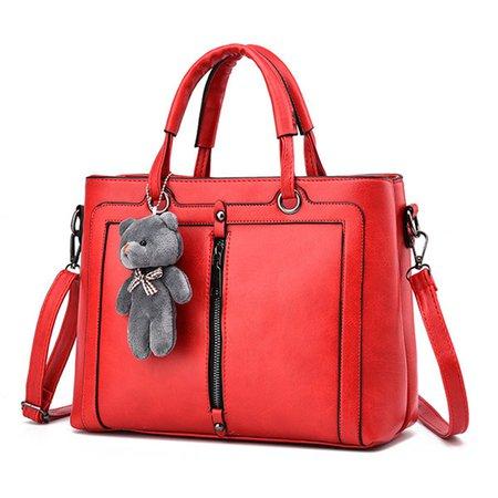 Vintage PU Leather Cute Animal Pendant Square Tote Bag Crossbody Bag