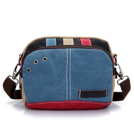 Color-block Canvas Retro Crossbody Bag For Women