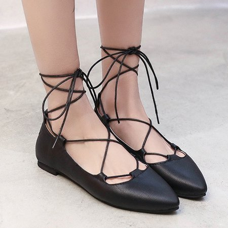 PU Casual Lace-up Daily Flats