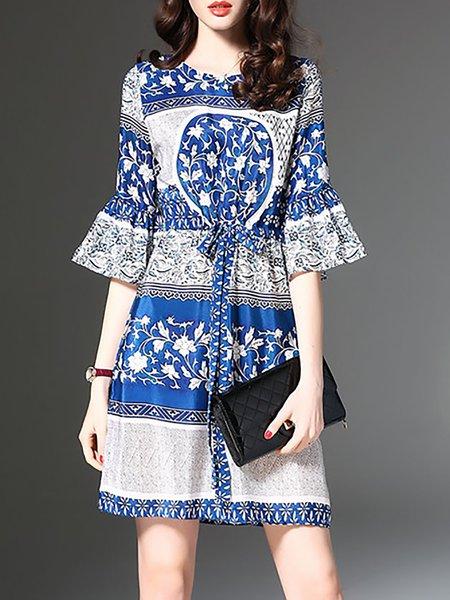 Blue Half Sleeve Crew Neck Elegant Dresses