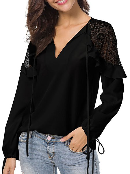 Lace Casual Solid Paneled Blouse