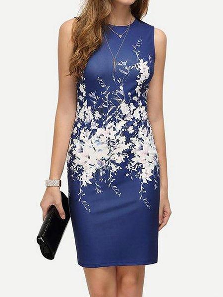 Women Elegant Dress Crew Neck Sheath Daily Short Sleeve Floral-print Dress