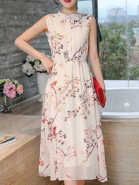 Floral Sleeveless Printed Elegant Dresses