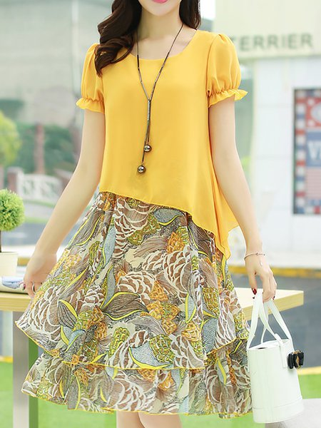 Printed Casual A-line Short Sleeve Casual Dresses