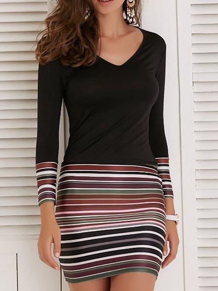 V neck Black Women Casual Dress Bodycon Daily Long Sleeve Basic Dress