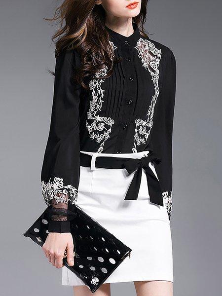 Black Balloon Sleeve Embroidered Shirts