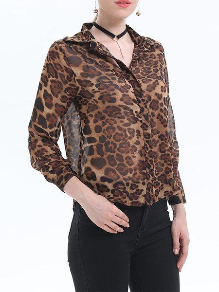 Leopard Print 3/4 Sleeves Chiffon Shirts