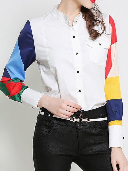 Contrast Color Block Turn-down Collar Shirts
