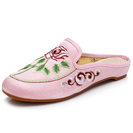 Flower Printing Backless Flat Shoes