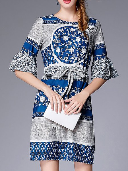 Frill Sleeve Casual Vintage Print Dresses
