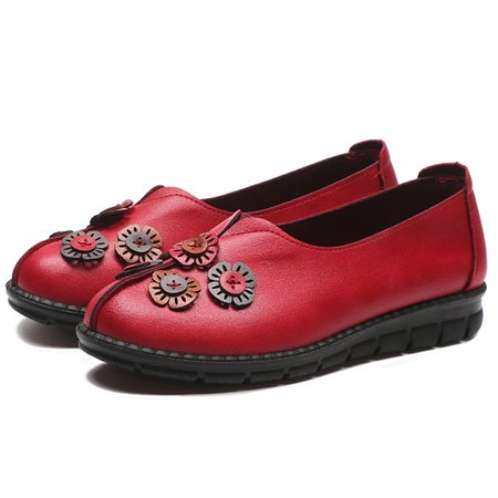 Leather Slip On Flower Casual Flats