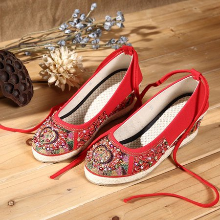 Bling Wedge Heel Strappy Shoes