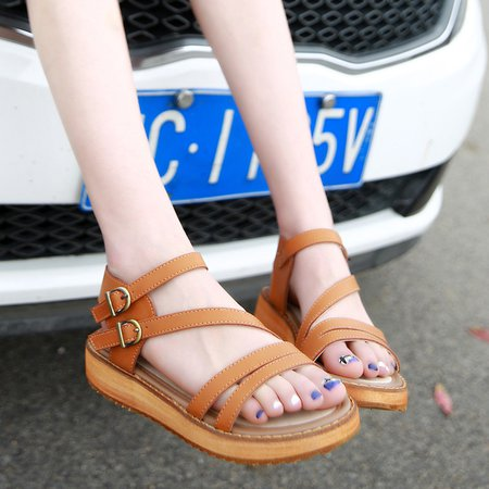Leather Adjustable Buckle Flat Heel Sandals