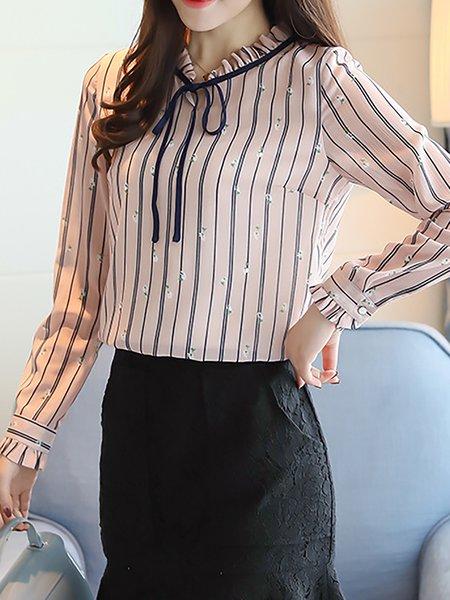 Tie-neck Long Sleeve Stripes Blouse