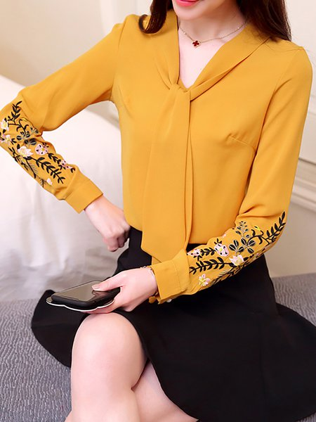 Embroidered Casual Long Sleeve Chiffon Blouse