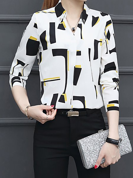 Casual Long Sleeve Abstract Shirt Collar Blouse