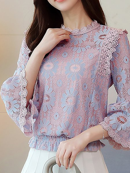 Lace Crew Neck Casual 3/4 Sleeve Blouse
