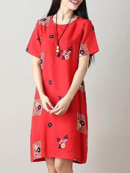 Elegant A-line Crew Neck Print Dresses