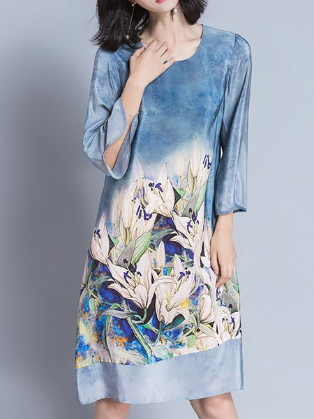 3/4 Sleeve Slit Summer Shift Print Dresses