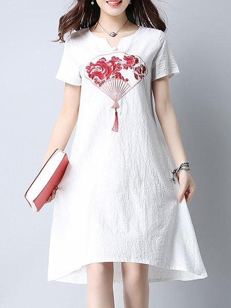 V Neck Sheath Printed Casual Dresses