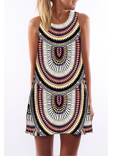 Multicolor Women Print Dress Crew Neck A-line Going out Sleeveless Casual Dress
