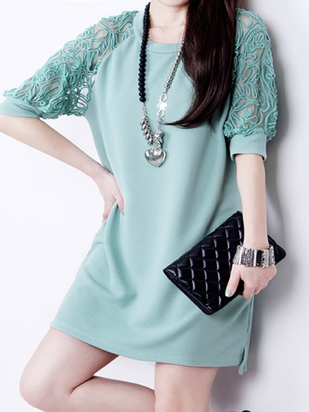 Women Casual Dress Crew Neck Daily Short Sleeve Paneled Dress