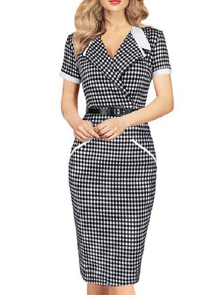 Short Sleeve Stripes Shawl Collar Morning Dresses
