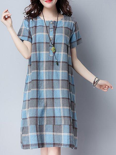 Checkered/Plaid Crew Neck A-line Casual Dresses