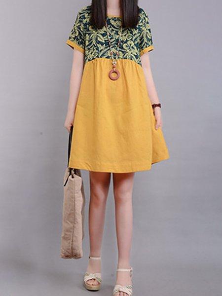 Linen A-line Crew Neck Print Dresses