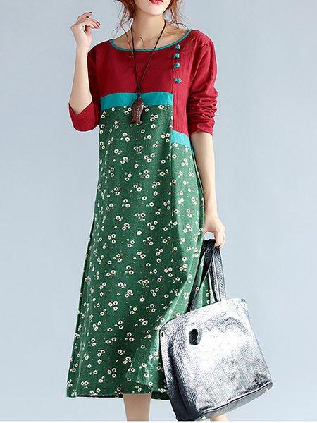 Green Women Print Dress A-line Daily Long Sleeve Paneled Dress