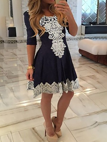Women Casual Dress Crew Neck Swing Daily Half Sleeve Floral Dress