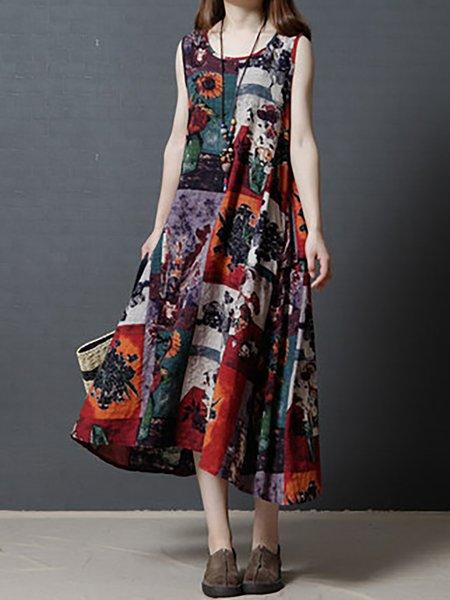 Sleeveless Swing Crew Neck Print Dresses