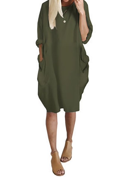 Elegant Cotton Half Sleeve Casual Dresses