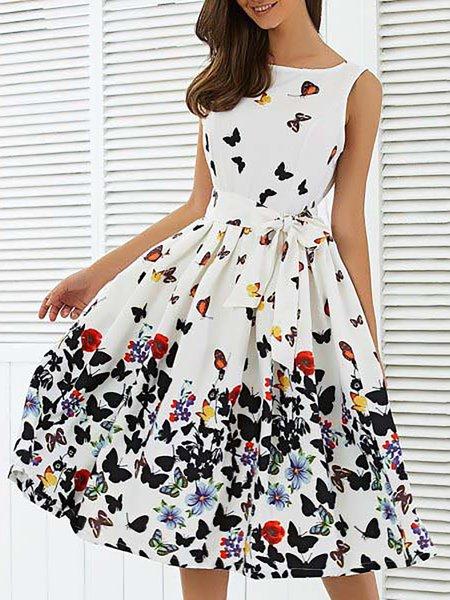 White Crew Neck Floral Elegant Print Dresses