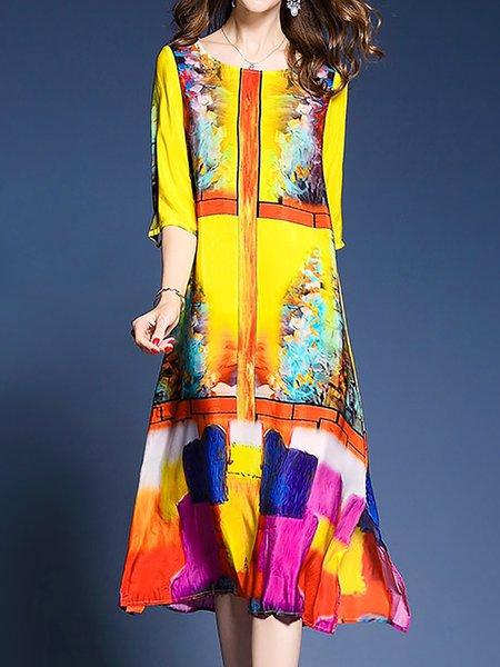 Yellow Women Print Dress Sheath Daily Elegant Paneled Dress