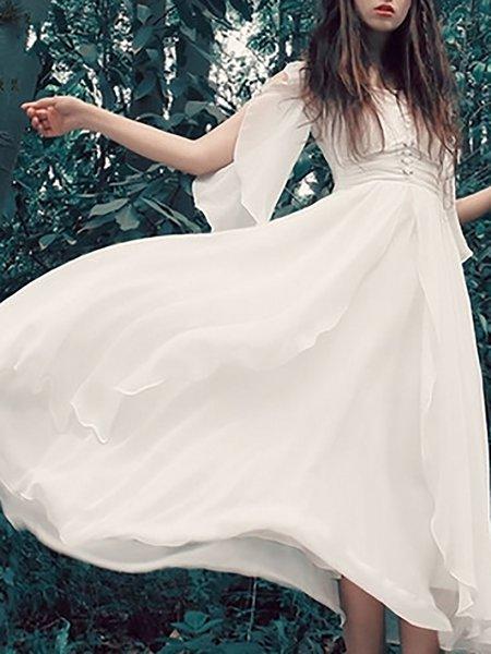 White Chiffon V neck Swing Prom Dresses