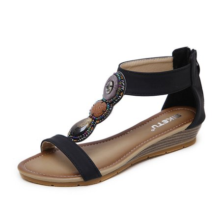 Bohemia Micro Leather Zipper Wedge Heel Daily Sandals