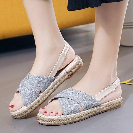 Casual Fabric Flat Heel Peep Toe Sandals