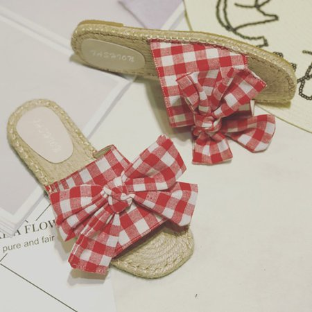 Flat Heel Bowknot Cloth Daily Slippers