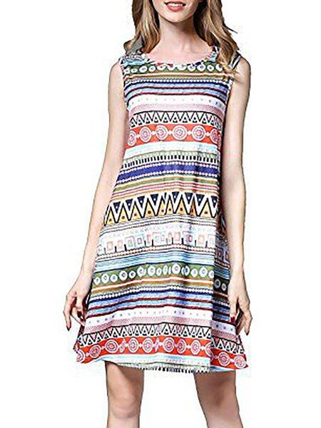 High-rise A-line Sleeveless Print Dresses