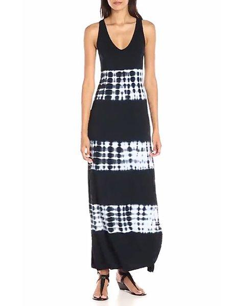Black Women Print Dress Crew Neck Sheath Daily Sleeveless Elegant Dress