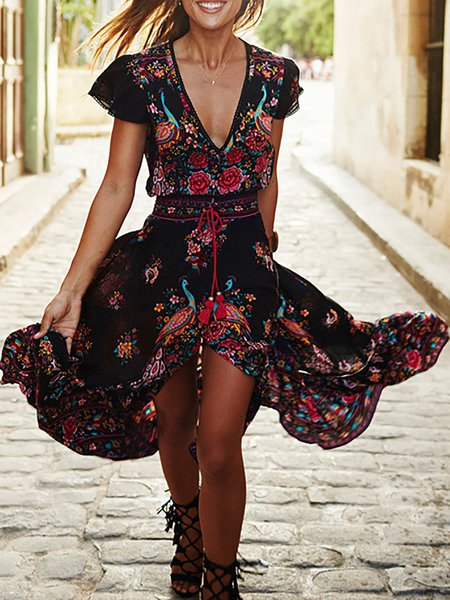 Red Women Print Dress V neck Swing Going out Short Sleeve Floral Dress