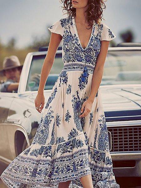 Blue Women Print Dress Swing Daytime Slit Floral Dress