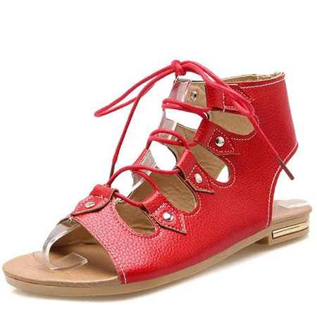 Lace-up Flat Heel Daily Casual Sandals