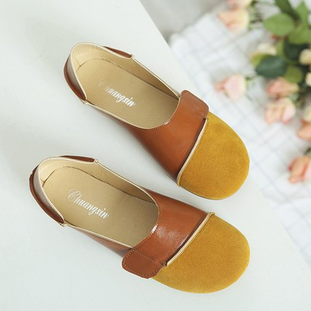 Casual Daily Slip On Split Joint Round Toe Flats