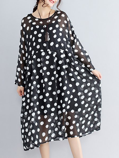 Black-white Women Print Dress Crew Neck Daily Long Sleeve Paneled Dress