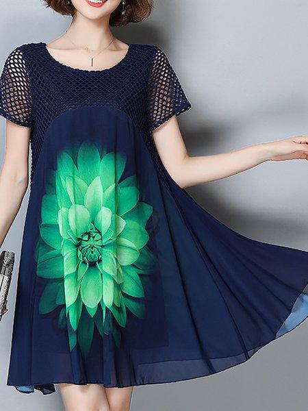 Women Print Dress Crew Neck Daily Short Sleeve Floral Dress