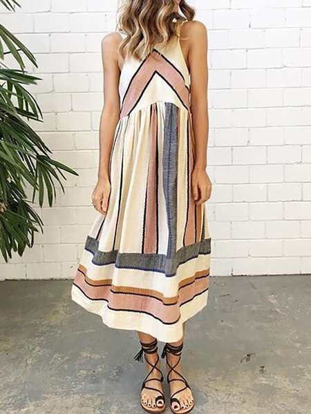 Apricot Women Print Dress Daytime Paneled Striped Dress